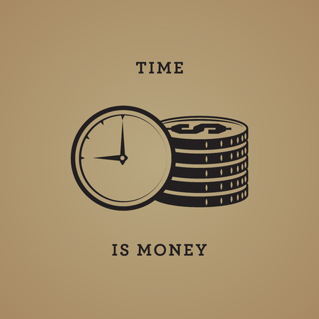 symbols metaphors: Time is money abstract, vector illustration