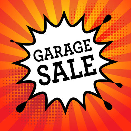 Comic explosion with text Garage Sale, vector illustration Stock Illustratie