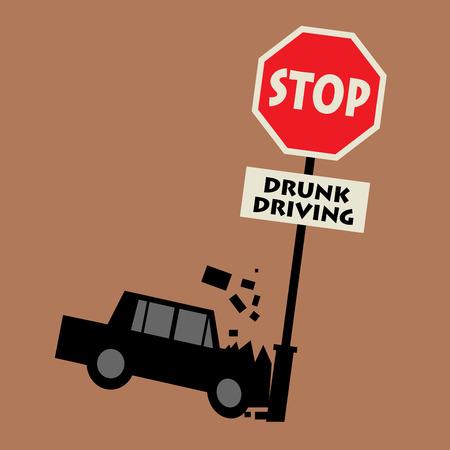 Stop drunk driving, vector illustration Illustration