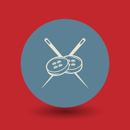 darn: Needle and buttons icon or sign, vector illustration Illustration