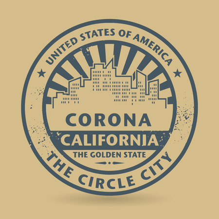 corona: Grunge rubber stamp with name of Corona, California, vector illustration