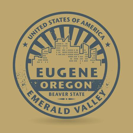 eugene: Grunge rubber stamp with name of Eugene, Oregon, vector illustration Illustration