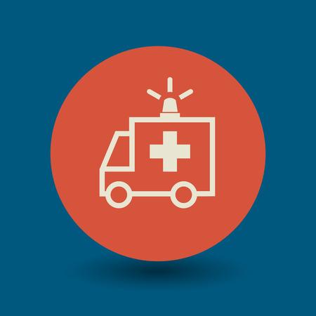 medical emergency: Ambulance car icon or sign, vector illustration