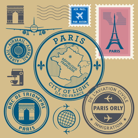 Travel stamps set, Paris theme, vector illustration