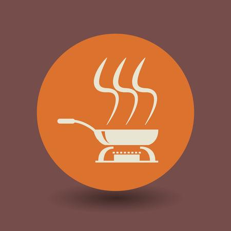 steel pan: Icono de cocina o signo, ilustración vectorial Vectores