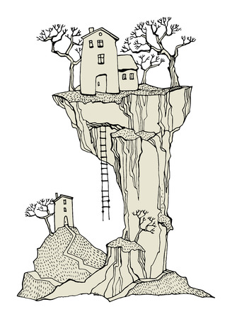 Cartoon village, fairy tale, vector Vector