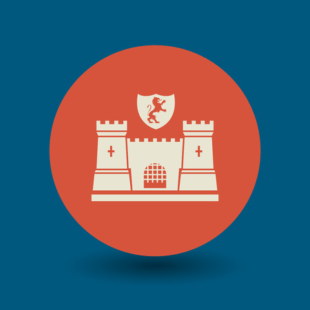 fortification: Castle icon or sign, vector illustration