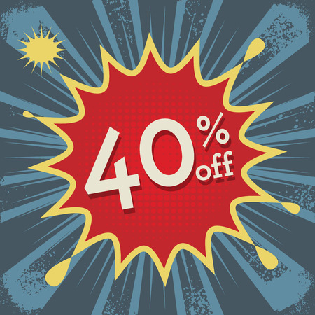 40: Explosion with text 40 percent off, vector illustration