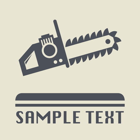 chain saw: Chain saw icon or sign, vector illustration