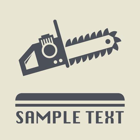 herramientas de mecánica: Motosierra icono o signo, ilustración vectorial Vectores