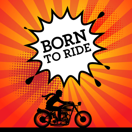 cartoon biker: Comic explosion with text Born to Ride, vector illustration