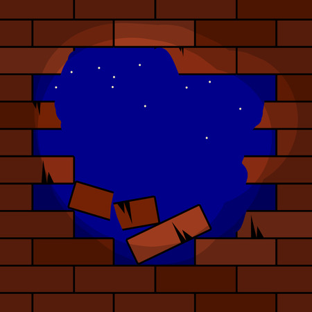 destroy: Hole in brick wall, vector illustration