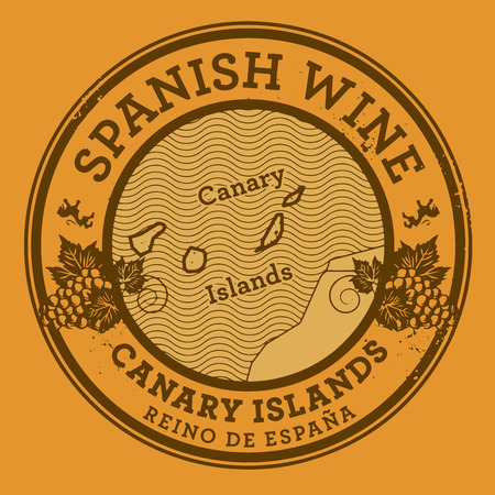 canary island: Grunge rubber stamp or label with words Spanish Wine, Canary Islands, vector illustration