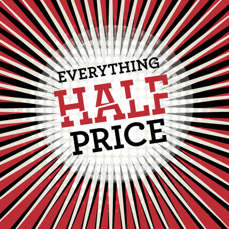 half price: Comic explosion with text Everything Half Price, vector illustration