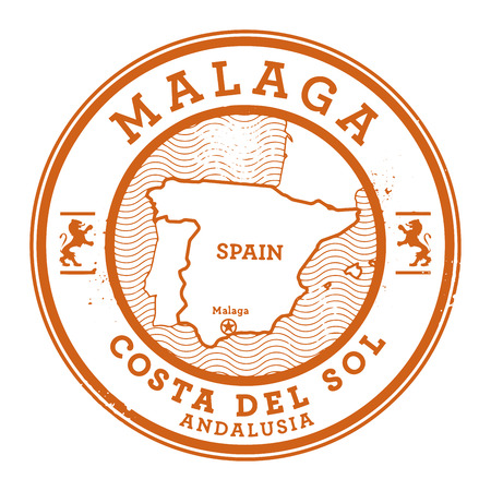 Grunge rubber stamp with words Malaga, Spain inside, vector illustration Vectores