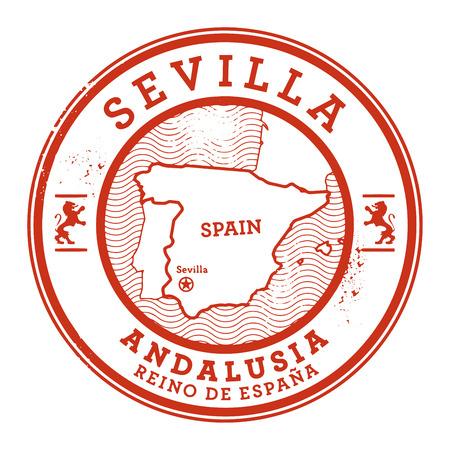 Grunge rubberen stempel met woorden Sevilla, Spanje binnen, vector illustratie Stock Illustratie