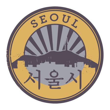 seoul: Tampon ou une �tiquette avec le texte de S�oul, � l'int�rieur, illustration vectorielle