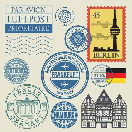 passeport: timbres de voyage �tablis, illustration vectorielle