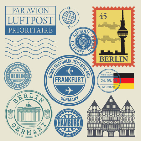 passport: Travel stamps set, vector illustration