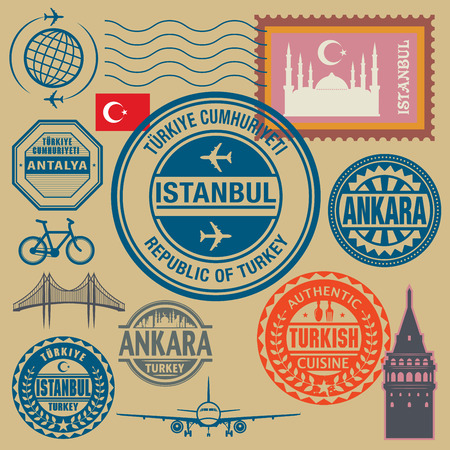 stamp collection: Travel stamps set, vector illustration