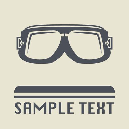 wayfarer: Biker glasses icon or sign, vector illustration