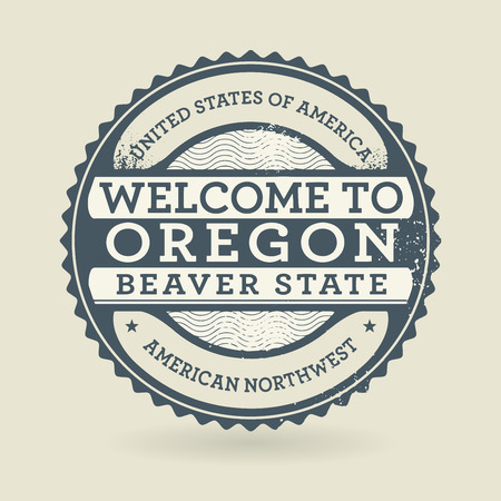 state of oregon: Grunge rubber stamp with text Welcome to Oregon, USA, vector illustration