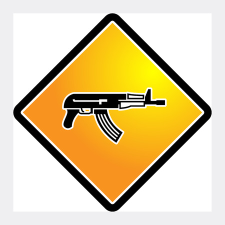 automatic rifle: Automatic rifle sign, vector illustration