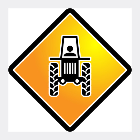 tractor warning sign: Tractor sign, vector illustration