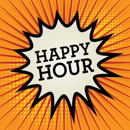 happy hour: Comic explosion with text Happy Hour, vector illustration