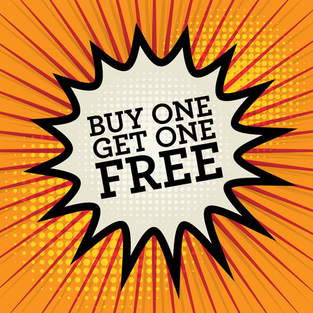 orden de compra: Explosi�n c�mica con el texto Compre uno y ll�vese otro gratis, ilustraci�n vectorial