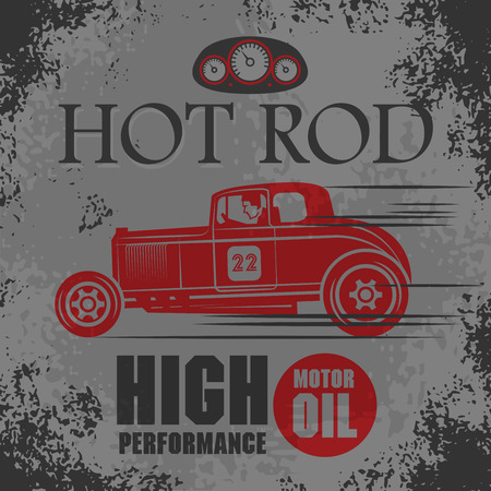 roadster: Retro Hot Rod poster, vector illustration Illustration