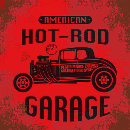 Retro Hot Rod poster, vector illustration Vectores