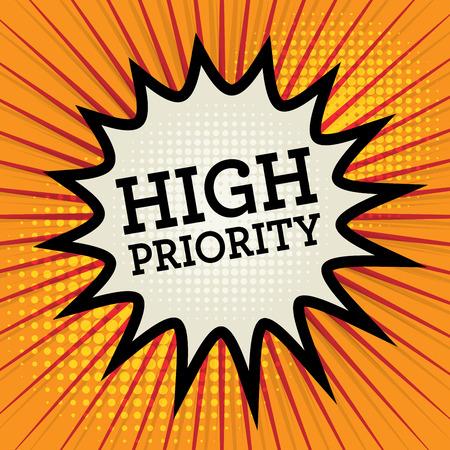 Contexte avec le texte de haute priorité, illustration vectorielle