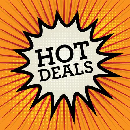 hot deals: Comic explosion with text Hot Deals, vector illustration