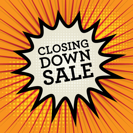 closing: Comic explosion with text Closing Down Sale, vector illustration