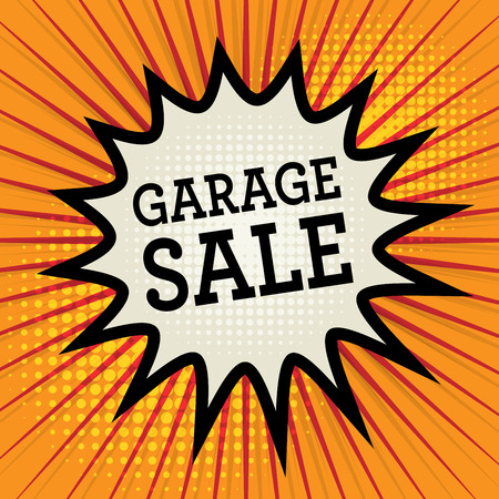 sale tags: Comic explosion with text Garage Sale, vector illustration Illustration