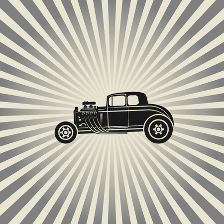 Retro Hot Rod poster, vector illustration Illustration