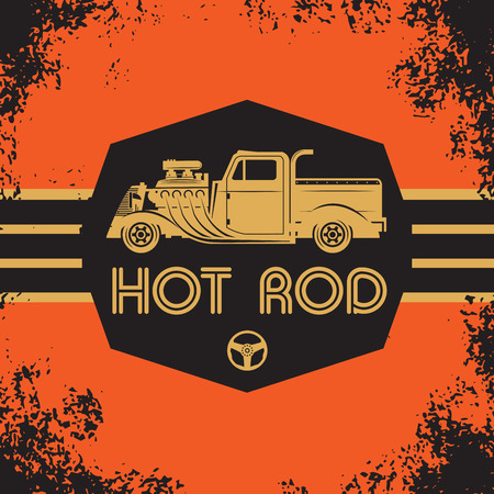 hot: Retro Hot Rod poster, vector illustration Illustration