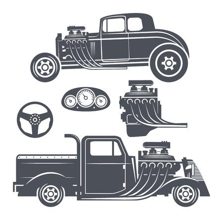 Retro Hot Rod set, vector illustration Vector