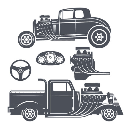 Retro Hot Rod set, vector illustration