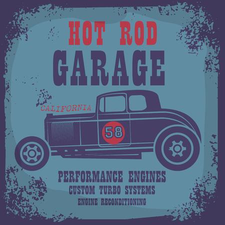 hot wheels: Retro Hot Rod poster, vector illustration Illustration