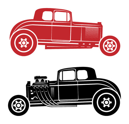 automovil antiguo: Hot Rod, ilustraci�n vectorial