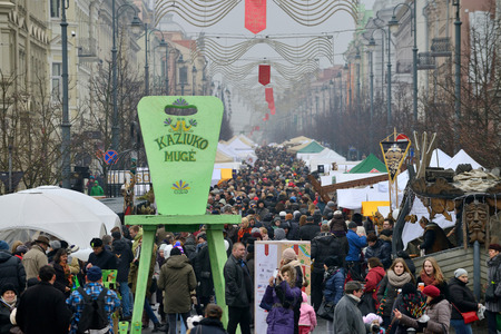 tradespeople: VILNIUS, LITHUANIA - MARCH 7: Unidentified people in annual traditional crafts fair - Kaziuko fair on Mar 7, 2015 in Vilnius, Lithuania