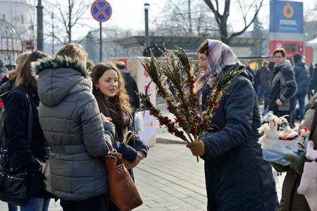 tradespeople: VILNIUS, LITHUANIA - MARCH 8: Unidentified people trade traditional palm bouquets in annual traditional crafts fair - Kaziuko fair on Mar 8, 2015 in Vilnius, Lithuania Editorial