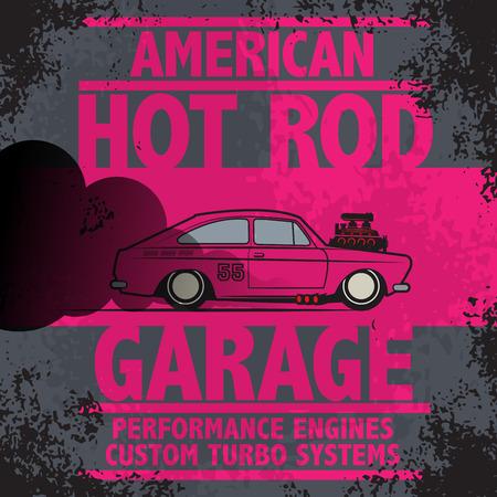 Retro Hot Rod poster, vector illustration Vector