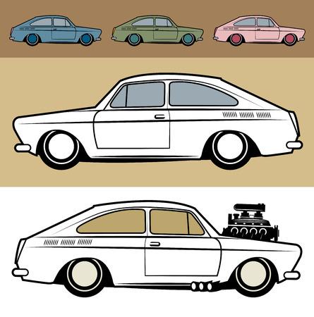 Retro Hot Rod car, vector illustration Vector