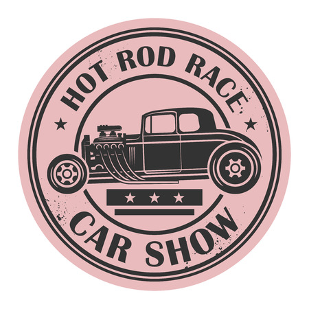 motor show: Retro Hot Rod stamp or label, vector illustration