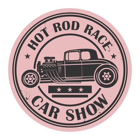 Retro Hot Rod stamp or label, vector illustration