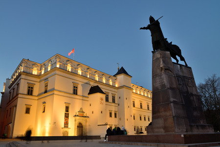 Night view of Cathedral Square in Vilnius, Lithuania
