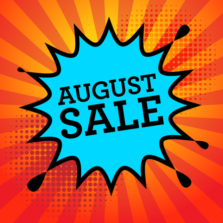 advertised: Comic explosion with text August Sale, vector illustration